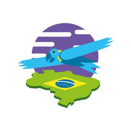 parrot bird animal with map of brazil vector illustration design Stock Illustratie