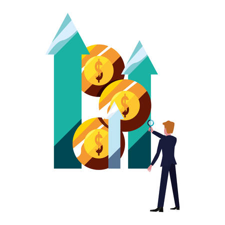 businessman money coins arrows profit vector illustration