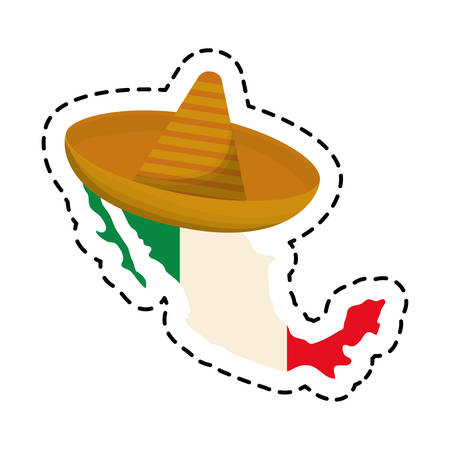 patch of hat with map mexican isolated icon vector illustration design