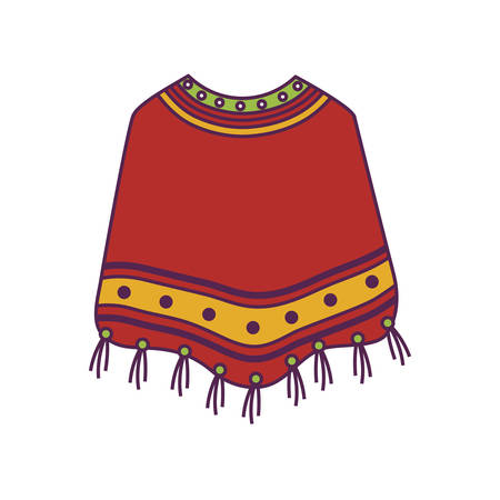 poncho clothes mexican isolated icon vector illustration design