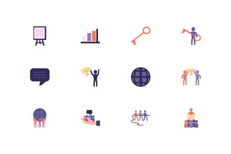 Business icon set design, Management workforce financial item corporate investment success technology and job theme Vector illustration Illusztráció