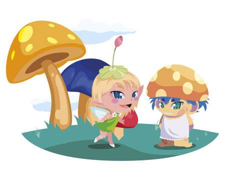 beautiful magic fairy and fungu elf in the garden vector illustration design Standard-Bild - 138076588
