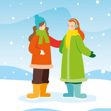 women with winter clothes in landscape with snowfall vector illustration design