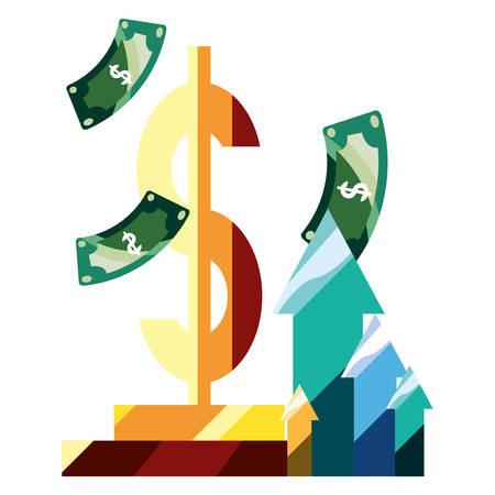 dollar bills money arrows business vector illustration