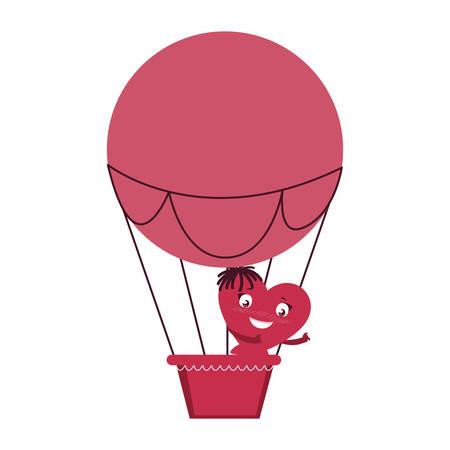 female heart in balloon air hot kawaii character vector illustration design  イラスト・ベクター素材