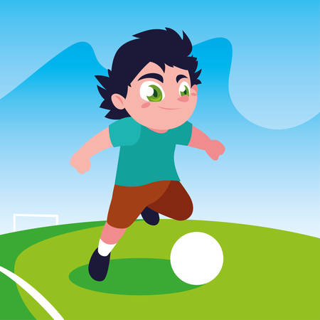 cute boy playing soccer outdoors vector illustration design