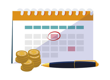 coins money with calendar and pen vector illustration design  イラスト・ベクター素材