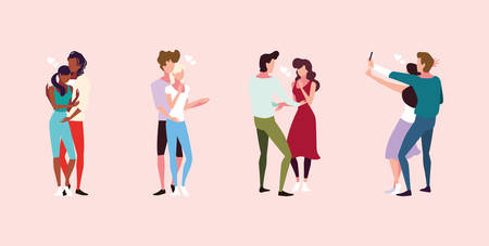 set of couple in love, man and woman embracing each other affectionately vector illustration design