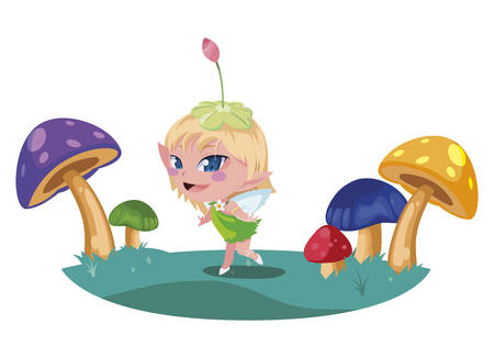 beautiful magic fairy in the fungus camp vector illustration design 向量圖像