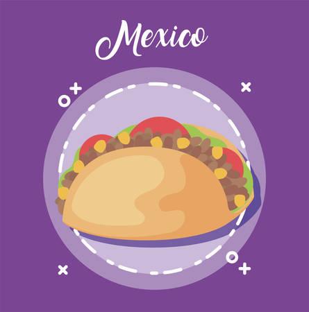 viva mexico celebration with taco food vector illustration design