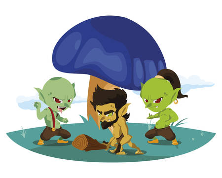 ugly trolls with caveman gnome in the camp magic characters vector illustration Ilustração