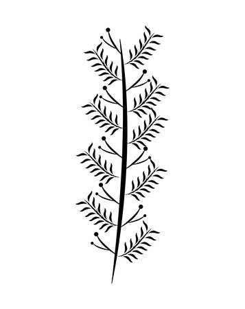 branch with leafs natural vector illustration design