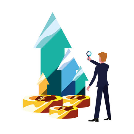 businessman with magnifier money arrows bank vector illustration vector illustration