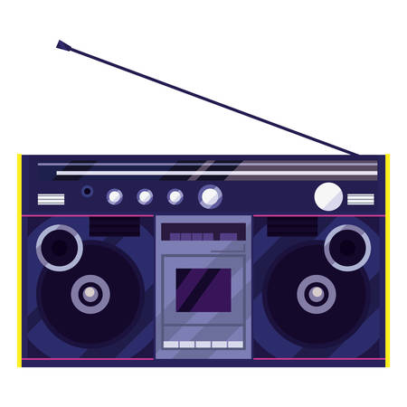 boombox stereo music retro 80s style vector illustration