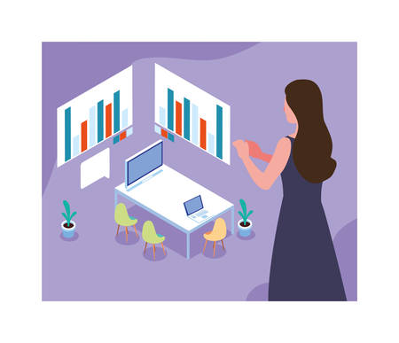 woman working on a project, work office vector illustration design