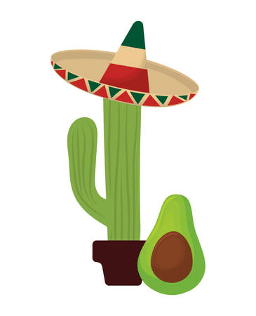 cactus with hat mexican and avocado vector illustration design