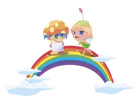 beautiful magic fairy and fungu elf with rainbow scene vector illustration design Standard-Bild - 138077002
