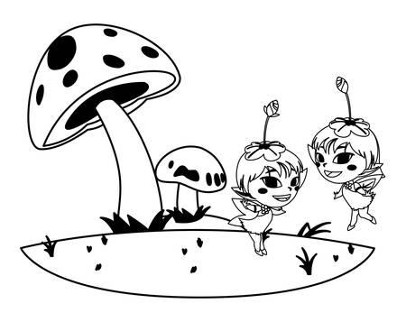 beautiful magic fairies in camp vector illustration design