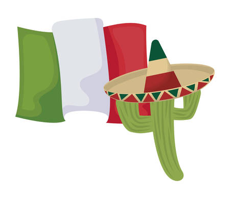 cactus with hat and mexico flag vector illustration design