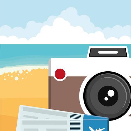 camera photographic with flight tickets vector illustration design