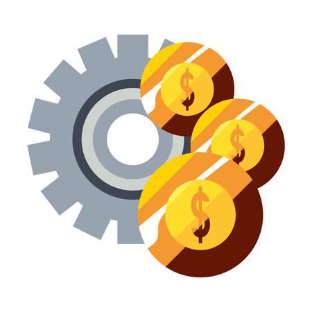 money coins stack dollar gear vector illustration
