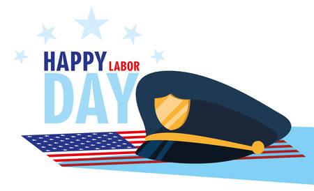 labor day card with police hat in flag usa vector illustration design Ilustração