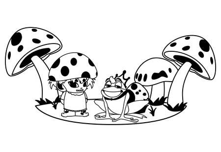 toad prince and fungu elf in garden vector illustration design Standard-Bild - 138081695