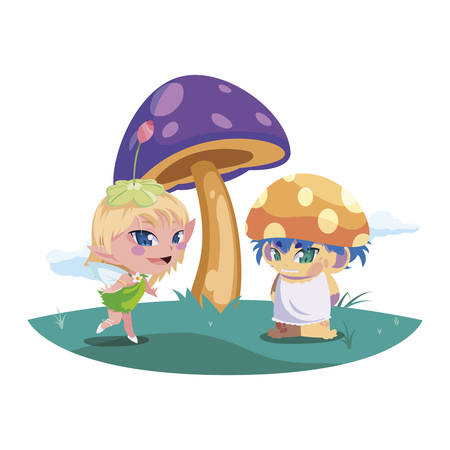beautiful magic fairy and fungu elf in the garden vector illustration design Standard-Bild - 138086575