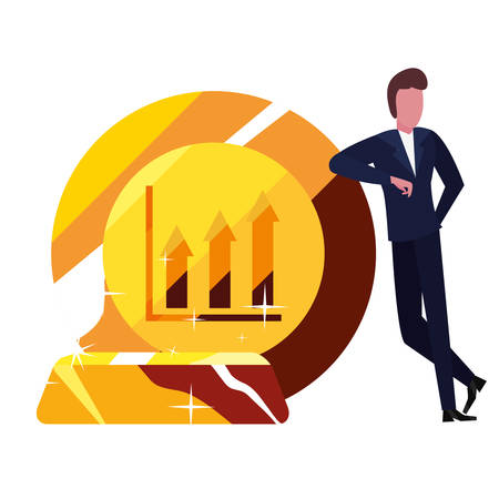 businessman gold bar money bank vector illustration vector illustration