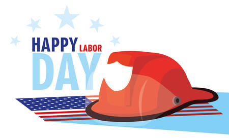 labor day card with helmet firefighter in flag usa vector illustration design Ilustração