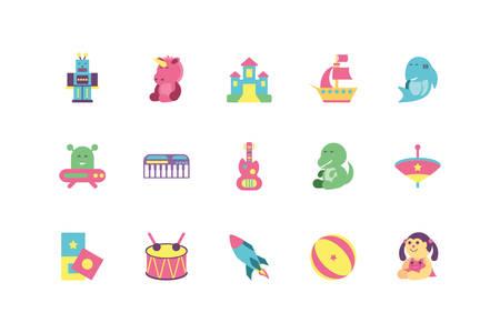 toys icon set design of Childhood play fun kid game gift object little and present theme Vector illustration Illusztráció
