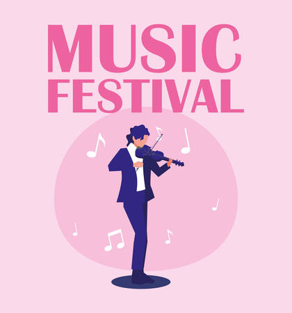 Musician man with fiddle design, Music festival sound melody song musical art and composition theme Vector illustration Ilustração
