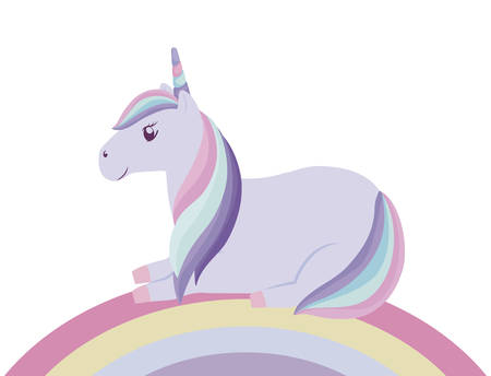 cute unicorn animal with rainbow vector illustration design Illustration