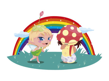 beautiful magic fairy and fungu elf with rainbow scene vector illustration design Standard-Bild - 138086801
