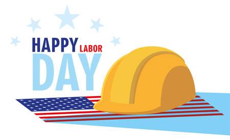 labor day card with safety helmet in flag usa vector illustration design Ilustração