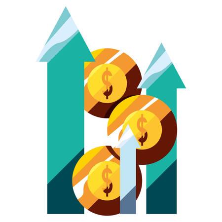 business chart gold coins money arrow profit vector illustration
