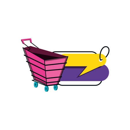 shopping cart with tag commercial isolated icon vector illustration design Ilustração