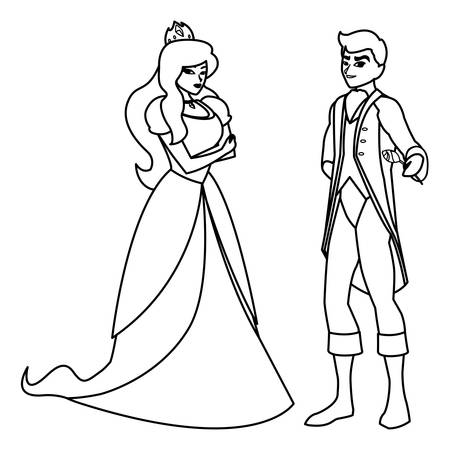 prince charming and princess of tales characters vector illustration design