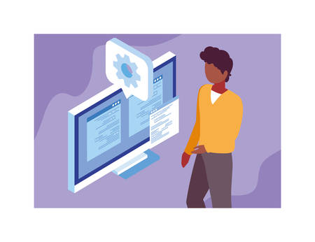 man working in front of computer screen vector illustration design Illustration