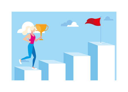 woman running up stairway to the top of mountain, way to success vector illustration design Illusztráció