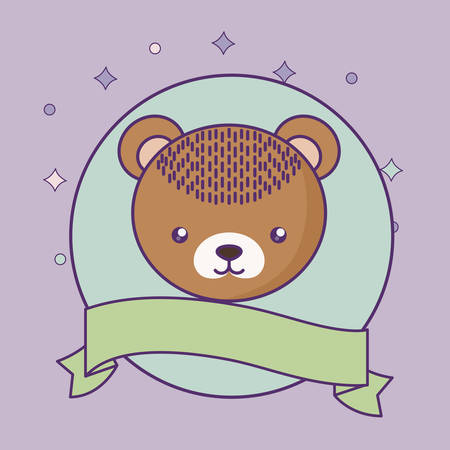 head of cute little bear baby with ribbon vector illustration design Çizim
