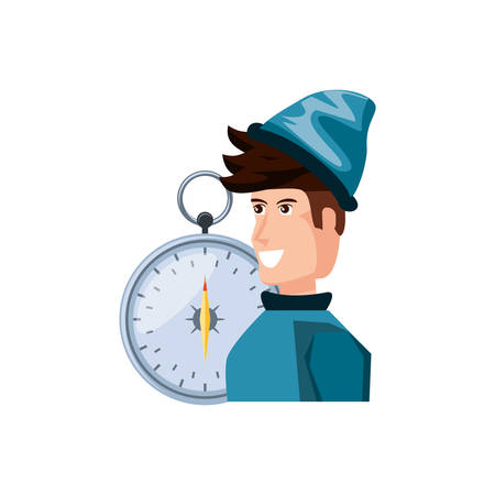 man with compass guide isolated icon vector illustration design 向量圖像