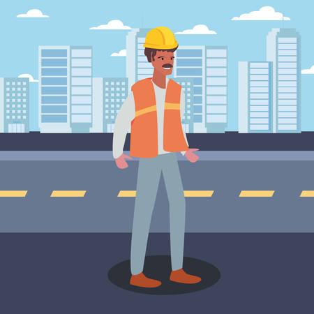 builder city street labour day vector illustration design