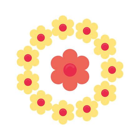 flowers wreath floral decoration ornament vector illustration Ilustrace