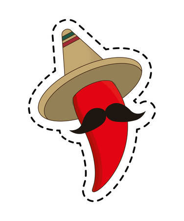 patch of chili pepper with hat mexican vector illustration design Çizim