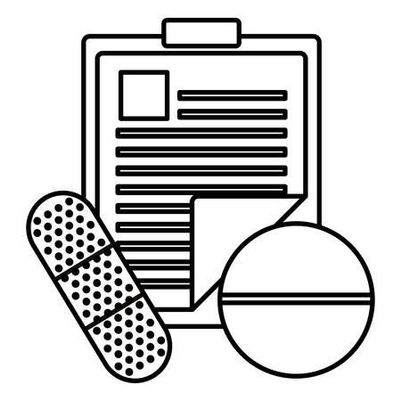 medical order checklist with pill and cureband vector illustration design Ilustração