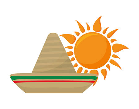 hat mexican with sun isolated icon vector illustration design Ilustrace