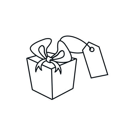 tag commercial with gift box isolated icon vector illustration design