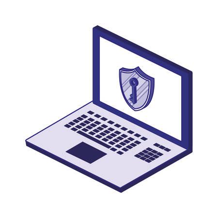 Laptop and key design of Security system warning protection danger web alert and safe theme Vector illustration