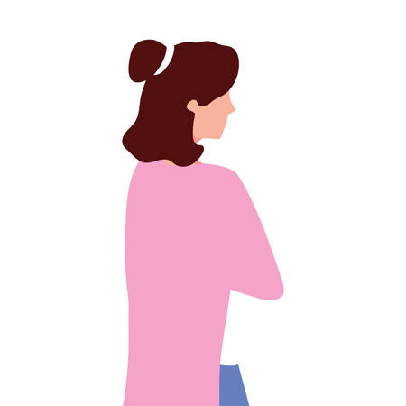 young woman of back position on white background vector illustration design Foto de archivo - 138698641